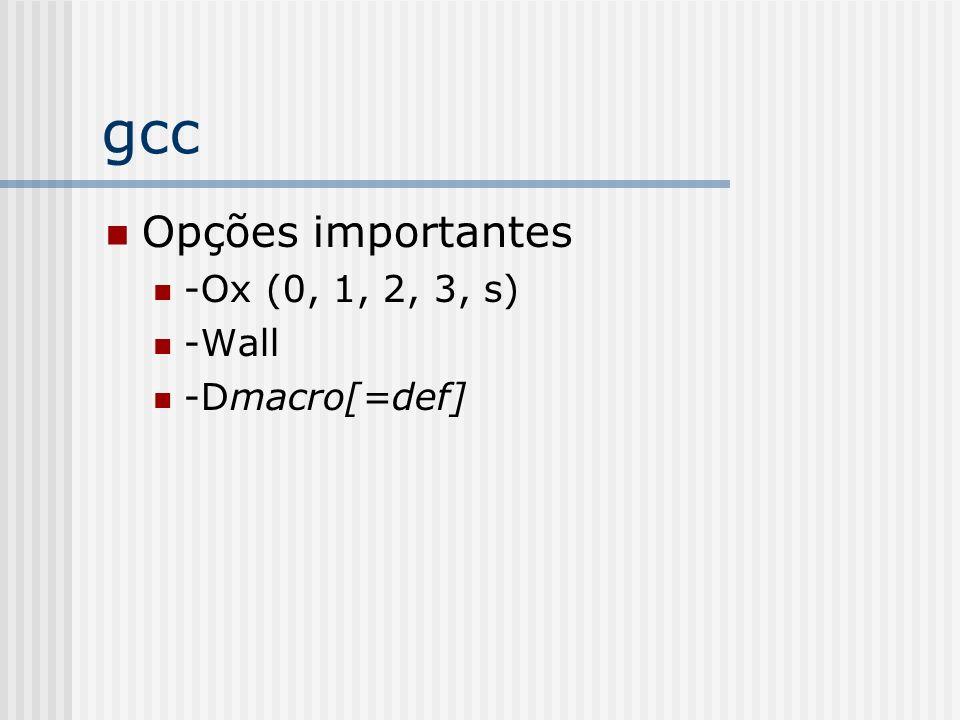 gcc Opções importantes -Ox (0, 1, 2, 3, s) -Wall -Dmacro[=def]